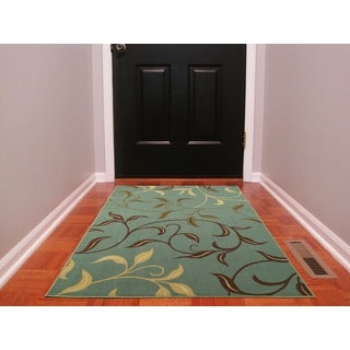 Ottomanson Ottohome Collection Sage Green/ Aqua Blue contemporary Leaves Design Modern Area Rug (3'3 x 5')