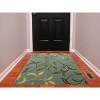 "Ottomanson Ottohome Contemporary Leaves Design Modern Sage Green/ Aqua Blue Area Rug with Non-skid Rubber Backing (3'3"" x 5')"