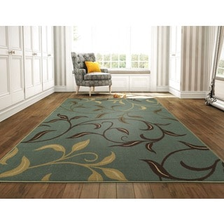 Ottomanson Ottohome Collection Sage Green/ Aqua Blue contemporary Leaves Design Modern Area Rug (8'2 x 9'10)