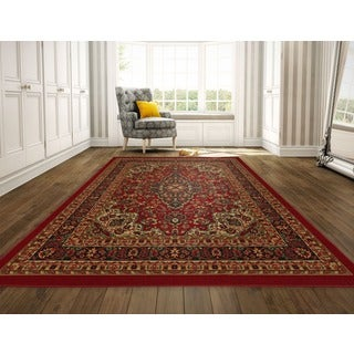 Ottomanson Ottohome Collection Persian Heriz Oriental Design Red Runner Rug (8'2 x 9'10)