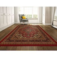 Ottomanson Ottohome Collection Persian Heriz Oriental Design Non-slip Rubber Backing Area Rug (8' x 10') - 8'2 x 9'10