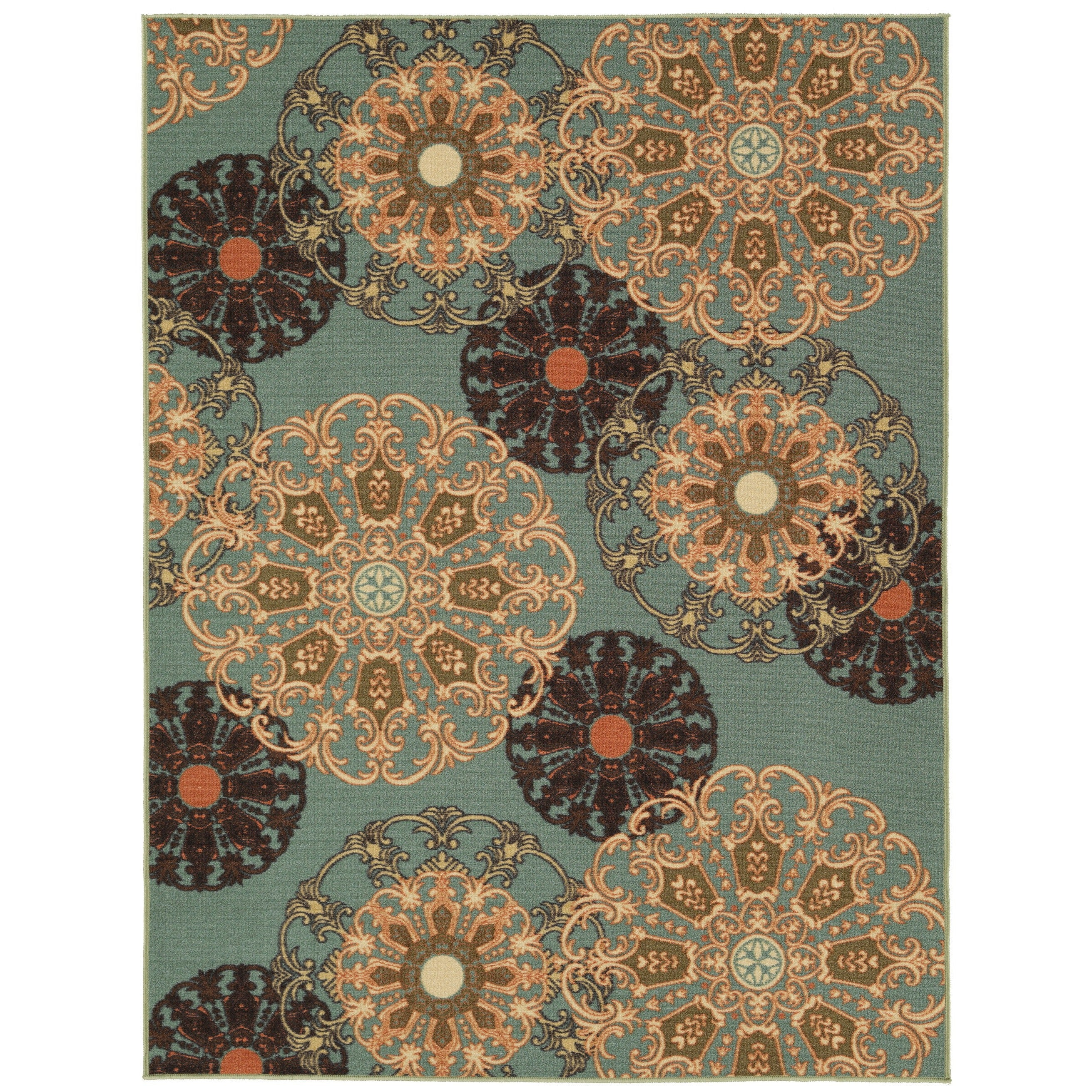 Ottomanson Ottohome Collection Aqua Blue Damask Design Sa...