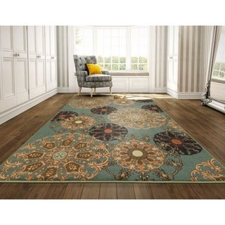 Ottomanson Ottohome Collection Red contemporary Damask Runner Rug (8'2 x 9'10)