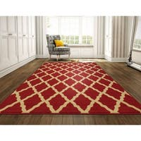 Ottomanson Ottohome Collection Morrocon Trellis Design Area Rug with Non-slip Rubber Backing Lattice, Red, (8' x 10')