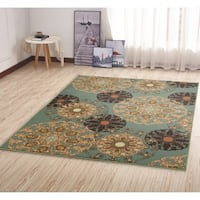 Ottohome Damask Design Non-slip Rubber Backing Area Rug