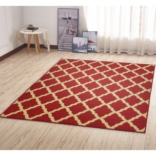 Ottomanson Ottohome Collection Morrocan Trellis Design Red Area Rug with Non-skid Rubber Backing Lattice (5' x 7')