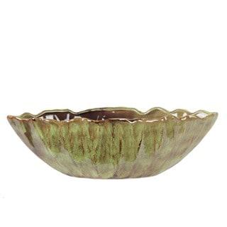 Privilege Green Folded Edge Large Ceramic Bowl