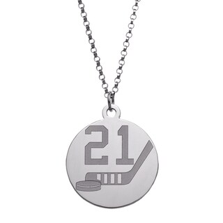 Sterling Silver Personalized Hockey Disc Pendant