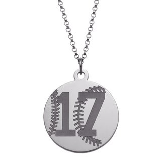 Sterling Silver Personalized Lucky Number Baseball Necklace