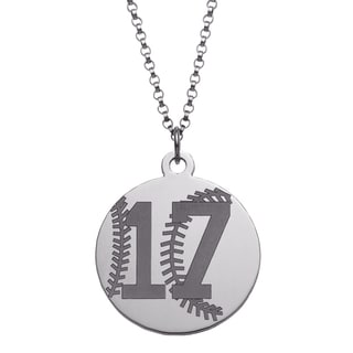 Sterling Silver Personalized Baseball Disc Necklace