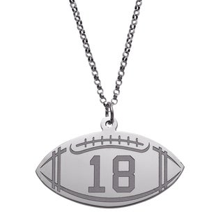 Sterling Silver Personalized Football Disc Necklace