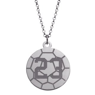 Sterling Silver Personalized Soccer Disc Necklace