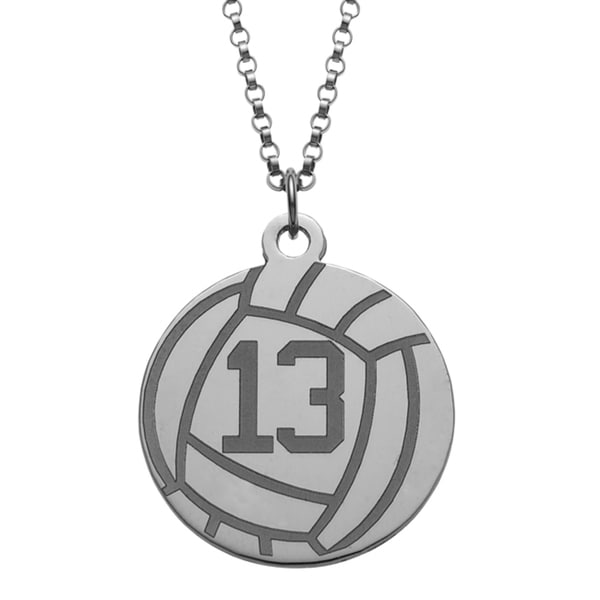 Sterling Silver Personalized Volleyball Disc Necklace
