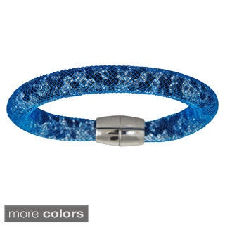 Decadence Rhodium-plated Mesh Crystal Bangle Magnetic Bracelet