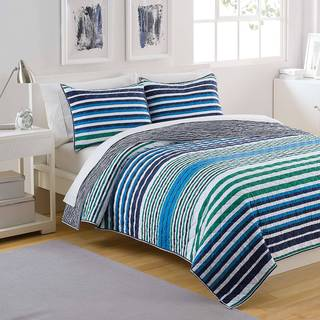 Shop Izod Parker Stripe 3 Piece Quilt Set Free Shipping