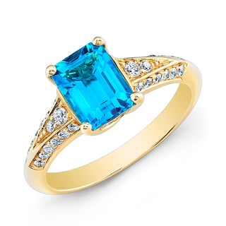 Estie G 18k Yellow Gold Blue Topaz 1/3ct TDW Diamond Ring (H-I, SI1-SI2)(Size 7)