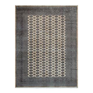 Herat Oriental Pakistani Hand-knotted Bokhara Beige/ Black Wool Rug (9' x 11'9)