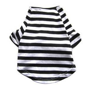 Iconic Pet Pretty Pet Black and White Striped Top