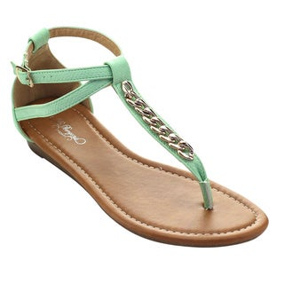 De Bengonia Mt-30 Women Metallic Chain T-Strap Low Wedge Heel Thong Sandals