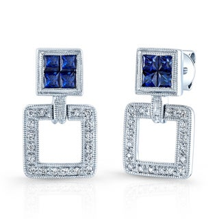 Estie G 18k White Gold Blue Sapphire and 1/10ct TDW Diamond Earrings (H-I, VS1-VS2)