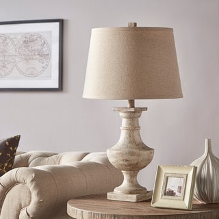 TRIBECCA HOME Hyperion Sanded Off-White 1-light Accent Table Lamp