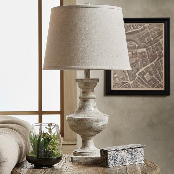 iNSPIRE Q Hyperion Sand/Off-white Resin 1-light Artisan Accent Table Lamp
