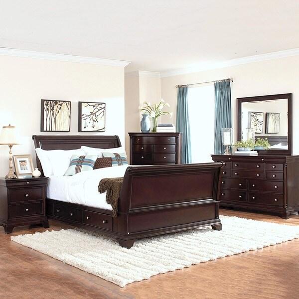 Caden Cherry Sleigh Style 5 Piece Bedroom Set Free