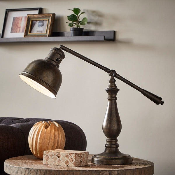 Maximus Metal Antiqued Brass 1-light Accent Desk Lamp by iNSPIRE Q Artisan. Opens flyout.