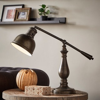 INSPIRE Q Maximus Metal Antiqued Brass 1-light Accent Desk Lamp
