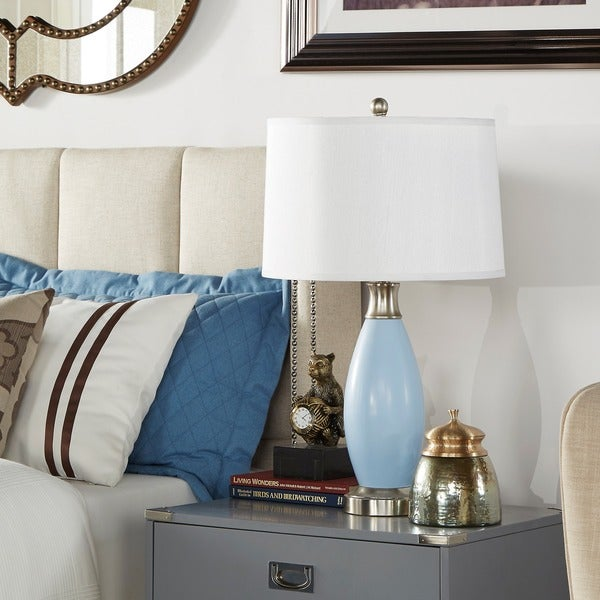 Ajax Blue Metal 1-light Accent Table Lamp by iNSPIRE Q Classic