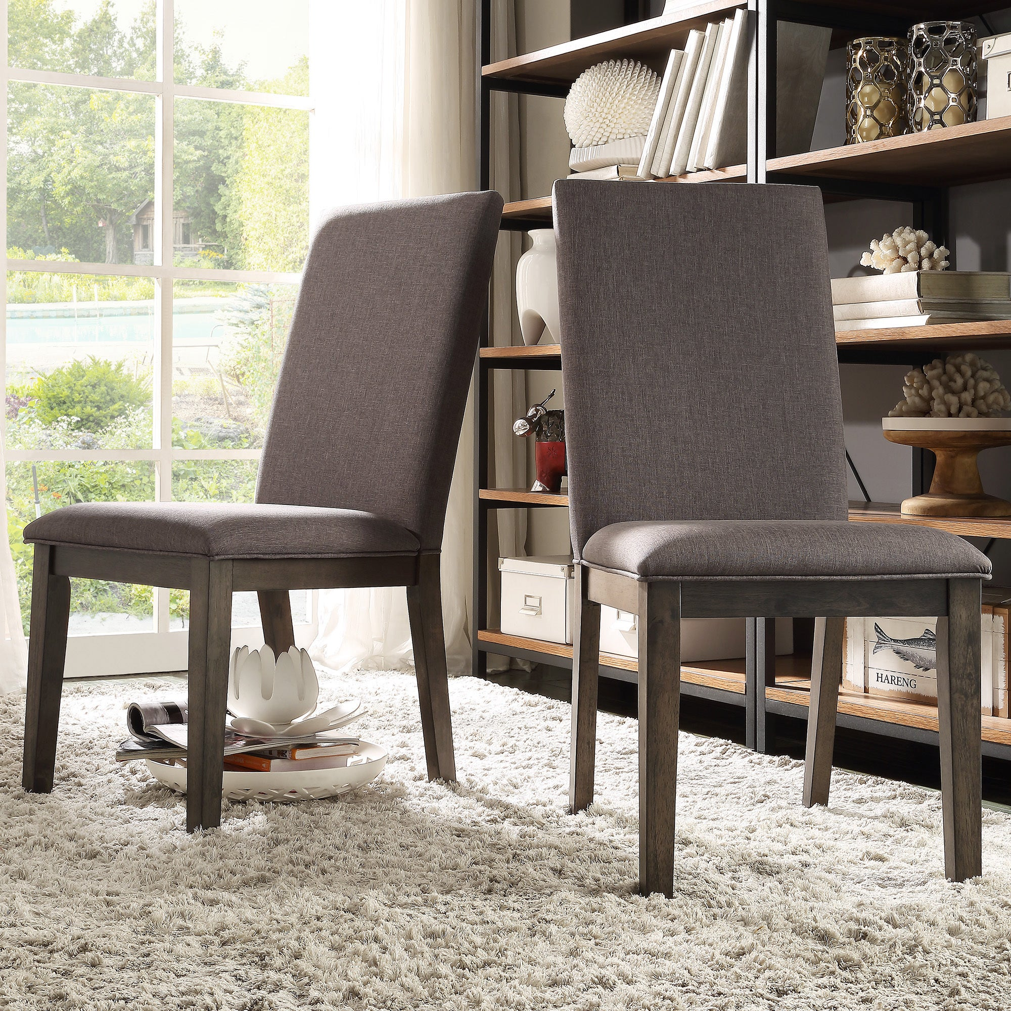 Ridgefield Industrial Weathered Upholstered Dining Chairs Set