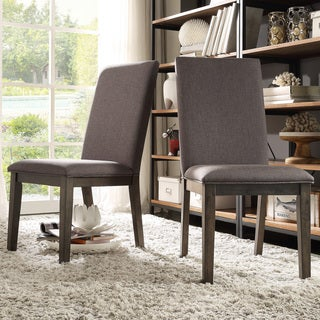 INSPIRE Q Ridgefield Industrial Weathered Upholstered Dining Side Chairs (Set of 2)