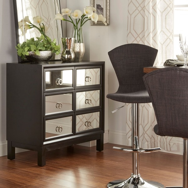 Cortona Pull 6 Drawer Black Frame Mirrored Side Chest Cabinet Free Shipping Today Overstock