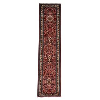 Hand-knotted Runner Salmon Persian Hamadan Oriental Rug (2'4 x 9'8)