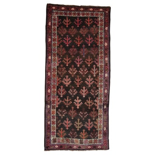 Handmade Black Old Persian Kurdish Gallery Size Rug (3'10 x 8'5)