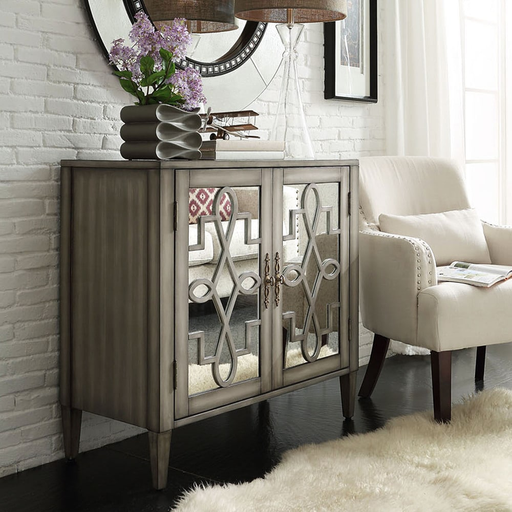 iNSPIRE Q Cortona Scroll Antique Mirrored Double Door Side Chest Cabinet by  Classic (Scroll Antique Mirrored Double Door)