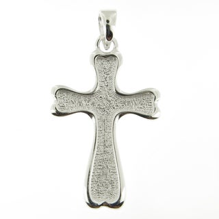 Handcrafted Sterling Silver Reversible Delicate Floral and Textured Cross (Italy)