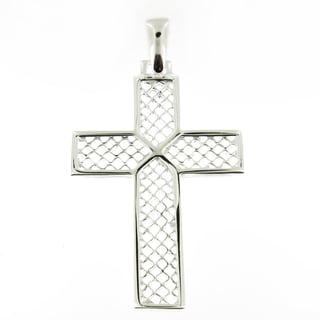Handcrafted Sterling Silver High Polish Mesh with X Cross (Italy)