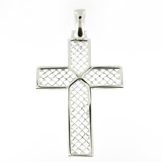 Handmade Sterling Silver High Polish Mesh with x Cross (Italy)