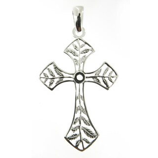 Handmade Sterling Silver High Polish Delicate Leaves Cross (Italy)