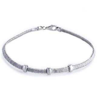 Handcrafted Sterling Silver Rhodium Finish Three Bars Wrapped Wire Bracelet (Italy)