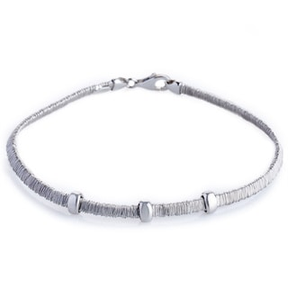 Handmade Sterling Silver Rhodium Finish Three Bars Wrapped Wire Bracelet (Italy)