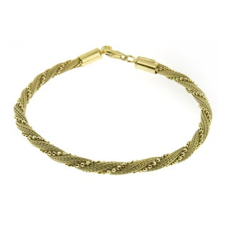 Handmade Gold or Rhodium Plated Sterling Silver Twisted Mesh and Beads Bracelet (Italy)