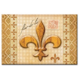 Counterart Golden Fleur De Lis Glass Cutting Board