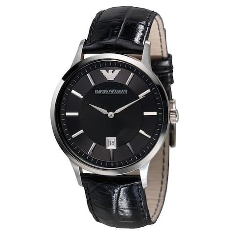 Emporio Armani Men's AR2411 Black Leather Watch