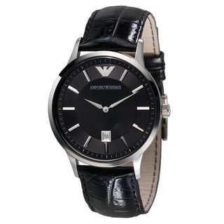 Emporio Armani Men's AR2411 Black Leather Watch