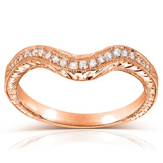 Annello by Kobelli 14k Rose Gold 1/8ct TDW Ladies Contoured Diamond Wedding Band (G-H, I1