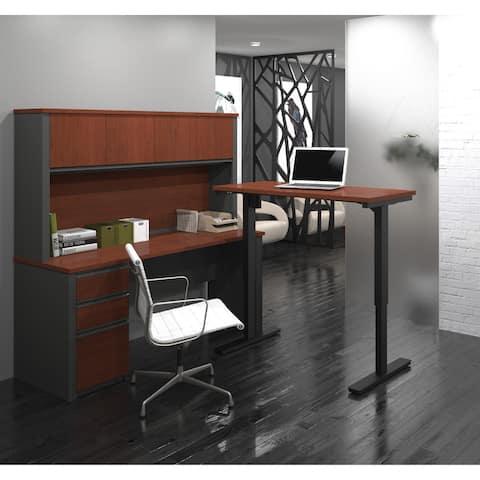 Bestar Prestige L-Desk with Hutch including Electric Adjustable Table