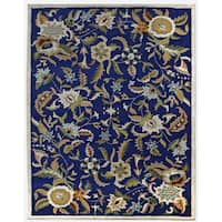 Blue Wool Traditions Paradise Rug (8'x11') - 8' x 11'
