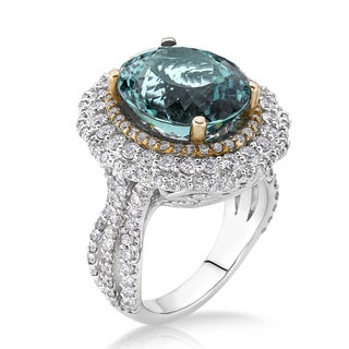 18k Two-tone Gold 1 3/4ct TDW Green Tourmaline and White Diamond Bridal Ring (G-H, SI)